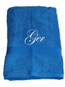 Afbeelding van Handdoek Cobalt Blauw geborduurd met Naam